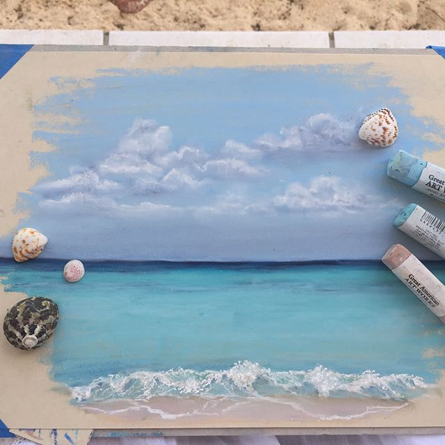 Painting in paradise  #antigua #pleinair #pastels #ocean #sea #sky #turquoise #sketch #artoftheday #tropical #waves #calm #seascape #vacation #artist #instaartwork #painterlife #outsiderart #worldofart #beach #caribbeansea #coastal #livewithart #worldofartists #artsy #artistsoninstagram #happylifestyle #creativity