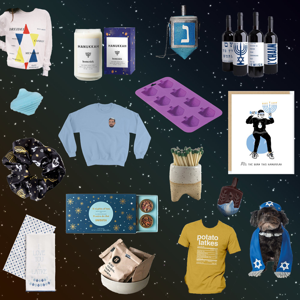 Hanukkah 2018 Gift Guide - Haim Hanukkah Tee for Tree of Life Synagogue | Homesick Hanukkah Candle | Betsey Johnson Dreidel Purse | Wine Bottle Labels | Lush Dreidel-shaped Bath Bomb | Drake Sweater | Dreidel Molds | RGB Holiday Card | Hanukkah Scrunchie | David's Tea 8 Nights of Tea Set | Match Striker | Chocolate Dreidel | Hanukkah Dishtowels | Hanukkah Decor Countdown bags | Latkes Tee | Dog Yarmulke + Tallis Set