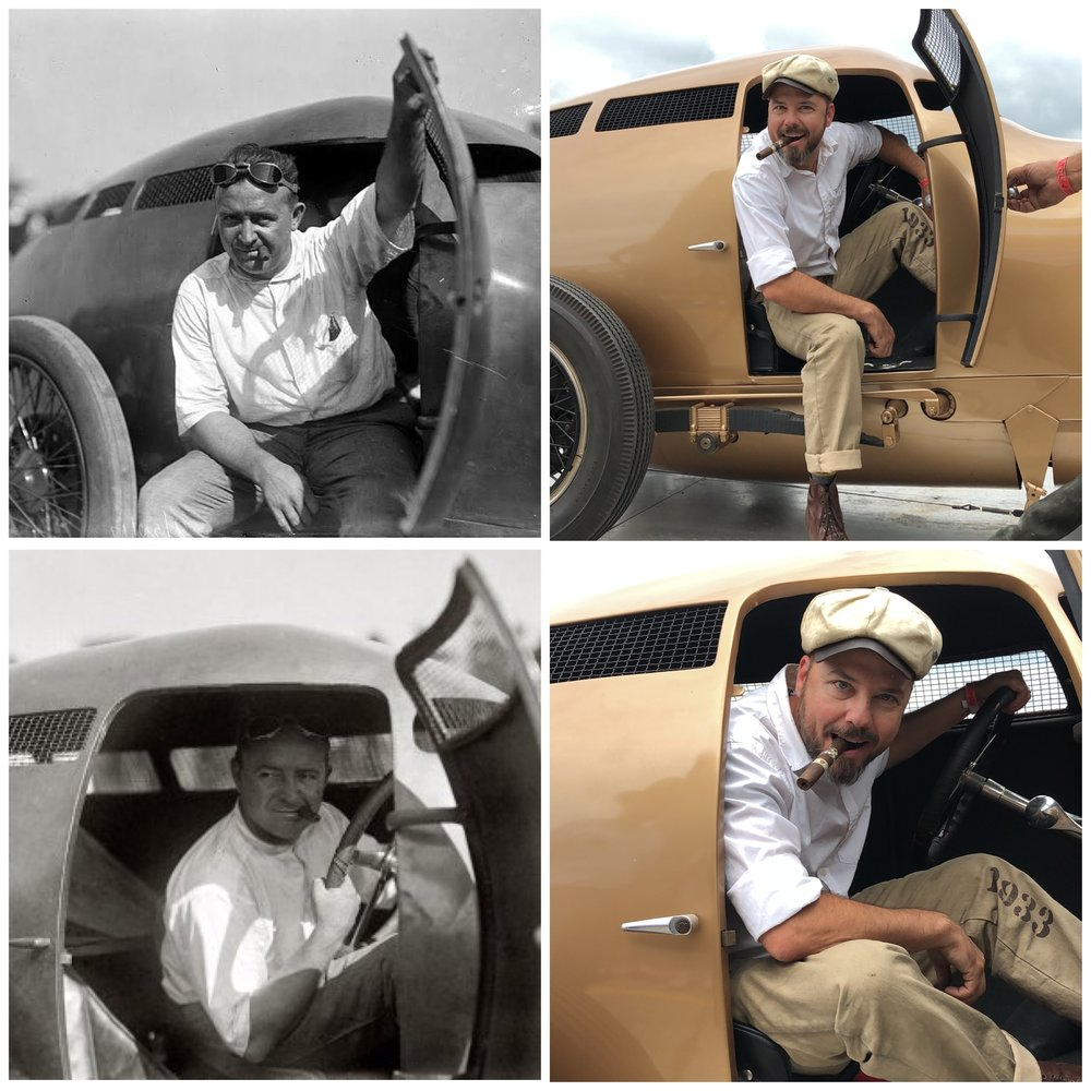 Barney Oldfield... and  1933 Group  owner  Bobby Green  in his car 100 years later!