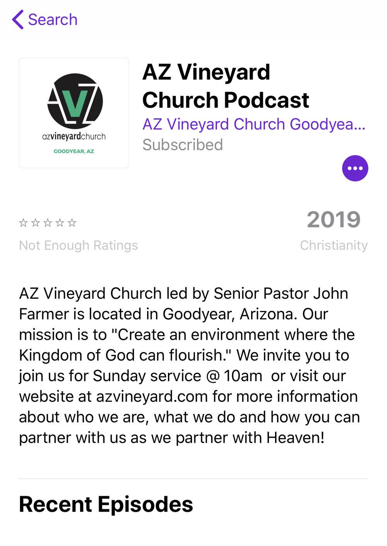 AZ Vineyard Church Podcast on iTunes