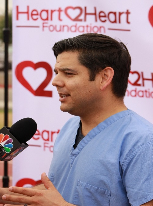 Here, Dr. Raul Ruiz, also a Congressman representing the 36th Congressional District of So. Cal is giving a T.V. interview to local NBC, ABC affiliates stations at one of our events. Dr, Ruiz continues to vigorously support our campaign to train every high school student in life-saving skills prior to graduating. With a passion to improve access to better healthcare, maybe, just maybe, mandated CPR and AED training for all high schoolers could become a reality in the future.