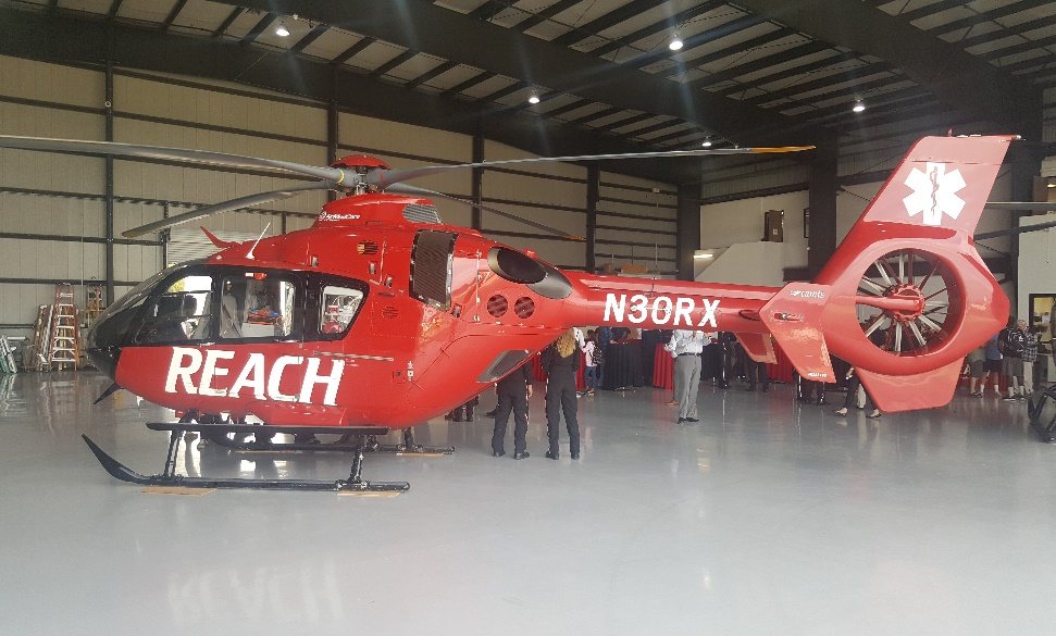 """Reach Air Ambulance waiting to be put into action at their new Murrieta air base. Behind every one of the thousands of emergencies they respond to is a very personal story. A the Heart2Heart Foundation we strongly believe that anyone of our program graduates could become an """"Ordinary Person in a Very Extraordinary Moment""""."""