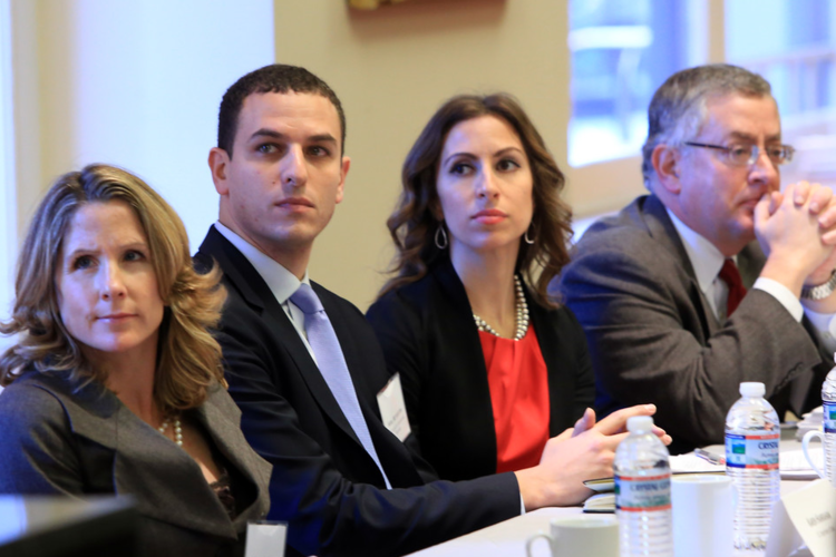 Karen Hanrahan (Department of STate), Ariel Meyerstein (USCIB), Melike Yetken (Department of state), and eric Biel (department of labor) at the dialogue