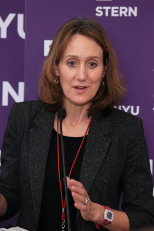Ambassador Cousens addresses participants in the 1st Open Dialogue for the U.S. National Action Plan on Responsible Business Conduct at NYU Stern in December 2015