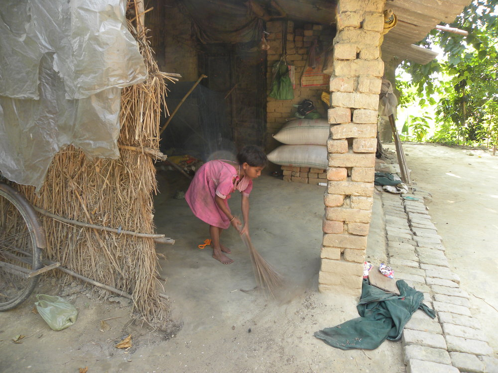 With the women taking care of the farming, young girls take care of household chores