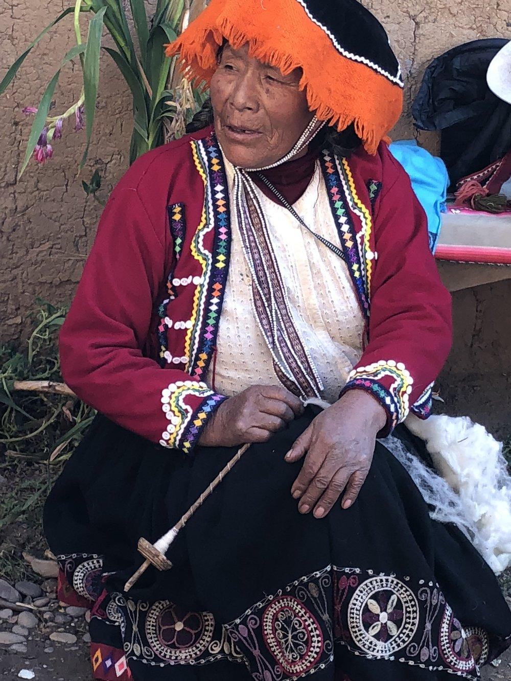 Spinning lama wool into yarn