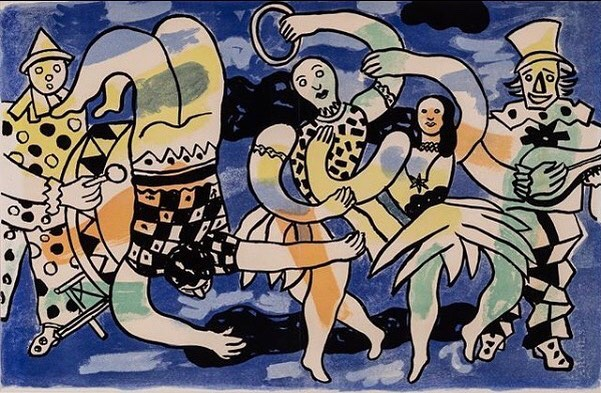 """Reposted from @art_to_live_with: """"Fernand Léger, 'Untitled,' 1950, from the portfolio 'Cirque,' color lithograph.⠀ ⠀ This print is one of 83 included in Cirque, Léger's aptly titled artist book that featured original circus scenes. Léger was dazzled by the spectacle of the circus, and once wrote that """"The big top is an absolutely marvelous world."""" In Cirque, Léger used intense colors and dramatic lines to reproduce the dizzying performances that captivated him throughout his life.⠀ .⠀ .⠀ .⠀ From the Art to Live With collection, available for loan on October 7 at #artmatch2018. @smartmuseum doors open at 8 am. #art2livewith #a2lw #uchicago #uchicagoarts #smartmuseum⠀#legre #print #cirque"""