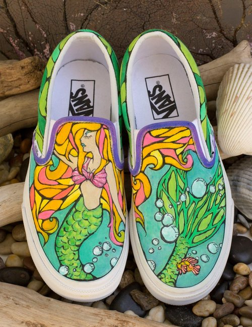 Custom Hand-Painted Shoes — Squatch   Siren 66a38feb5