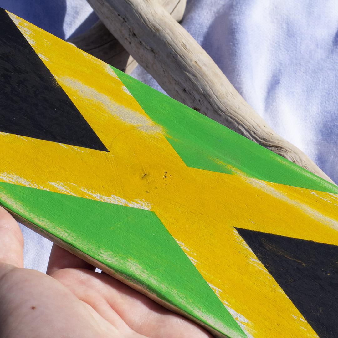 Reclaimed Pallet Board Art Jamaican Flag Squatch Siren