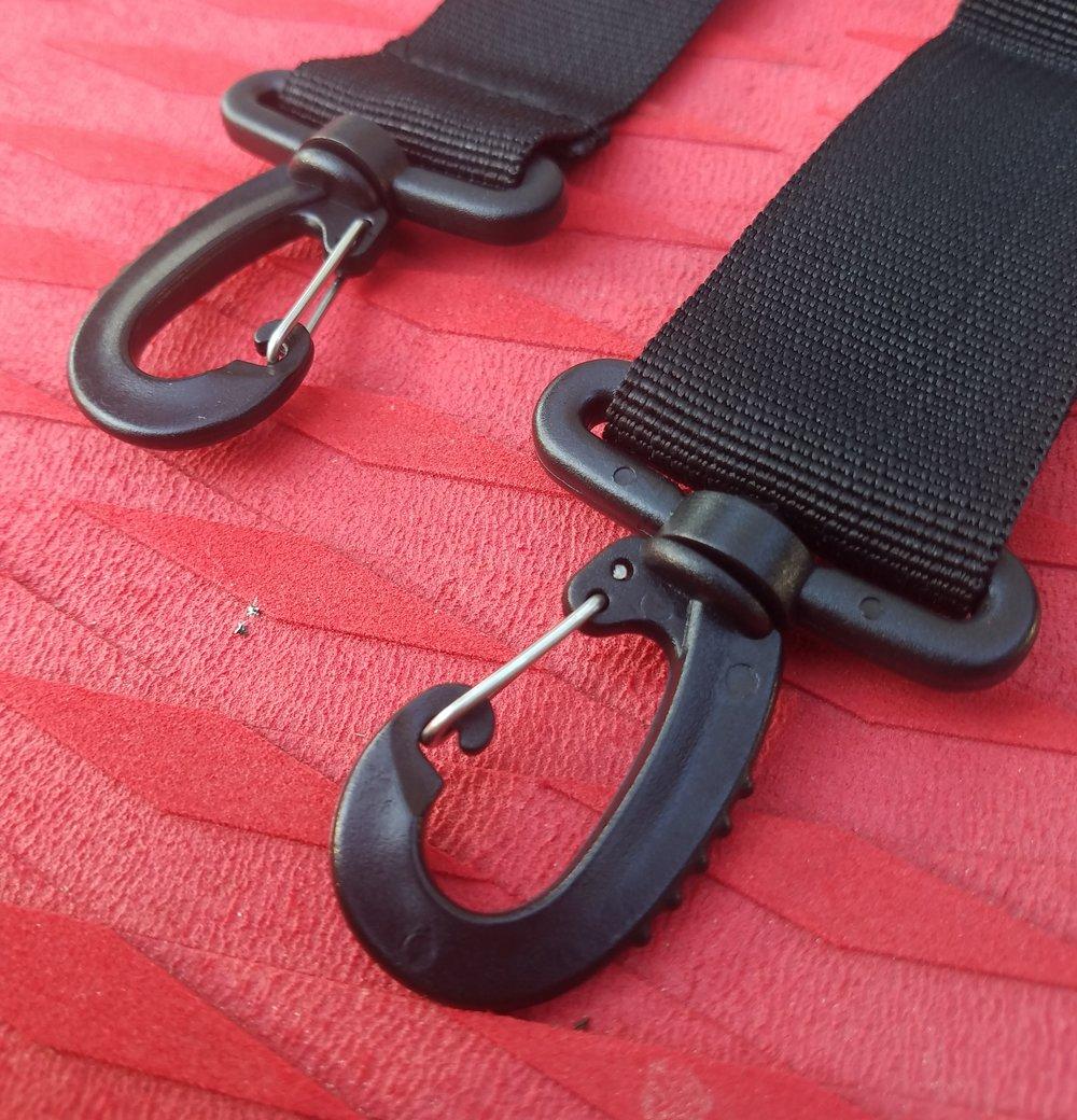 Clips for shoulder strap.