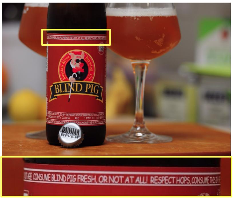 """Figura 5 - Russian River Blind Pig inclusive tiene una leyenda donde le pide al consumidor que tome la cerveza lo más pronto posible. Todo el marco de la etiqueta se traduce a:""""MANTÉNGASE FRÍA, TÓMESE FRESCA ¡NO AÑEJAR! CONSUME BLIND PIG FRESCA O MEJOR NO LA CONSUMAS. RESPETA AL LÚPULO, TOMA ESTA IPA FRESCA Y MANTENLA LEJOS DEL CALOR. ¡ESTA CERVEZA NO MEJORA CON EL TIEMPO! ¡POR FAVOR NO ME AÑEJES! ¡LAS CERVEZAS CON MUCHO LÚPULO NO SE ELABORARON PARA SER AÑEJADAS! ¡AÑEJA TU QUESO, NO A BLIND PIG IPA! ¡NO LA GUARDES PARA UN DÍA LLUVIOSO! ¡BLIND PIG ES PARA SABOREAR, NO PARA GUARDAR! RESPETUOSAMENTE TE PEDIMOS QUE NO AÑEJES ESTA CERVEZA."""""""