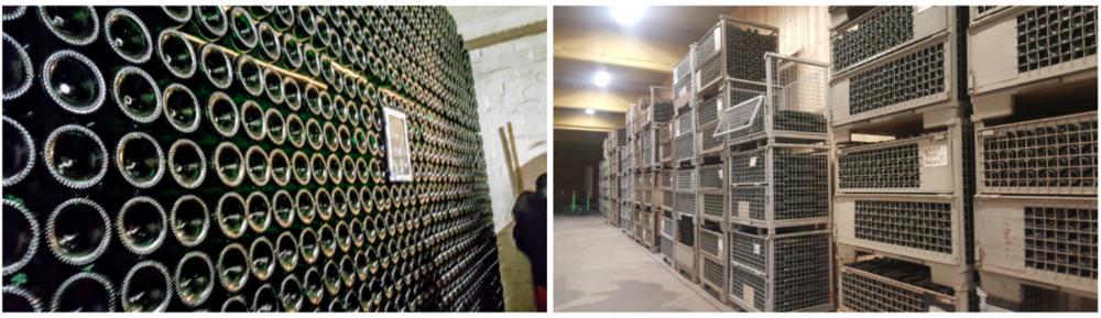 Figura 4 - Bodegas de Cantillon (izq.) y 3 Fonteinen (der.) en Bélgica. Estas cervecerías maduran sus cervezas embotelladas en forma horizontal.