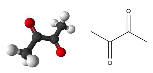 Figura 2 -  Estructuras químicas del diacetilo.