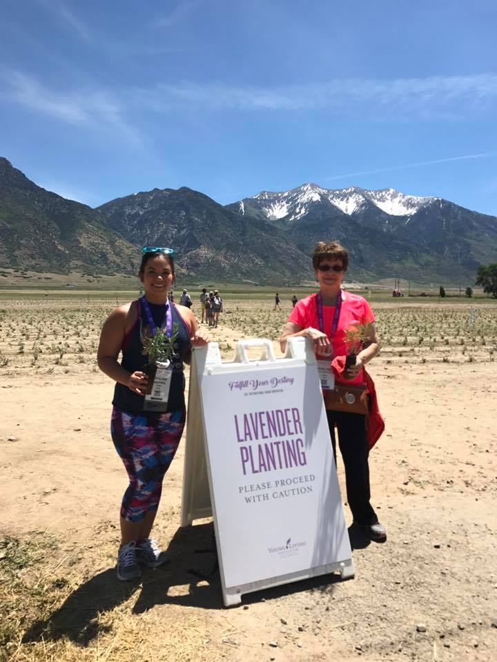 Adorina and Evelyne at the Young Living Lavender Farm in Mona, Utah planting lavender on June 15, 2017.