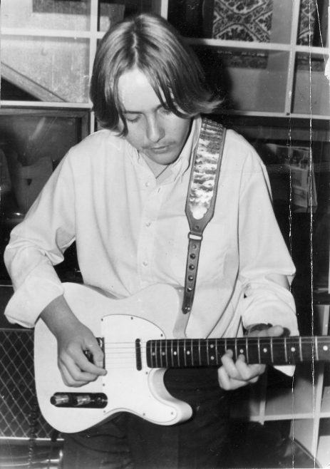 ULI at 14,  in 1969 playing a Fender Telecaster, which was borrowed, because his Framus guitar was being repaired.  The performance took place in Uli's high school, the Gymnasium Großburgwedel on 1. November 1969