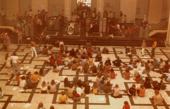 This is a photo from the last DAWN ROAD show ever at the Technical University of Hannover just prior to the new Scorpions.  A free concert, the students gathered for a 2nd show, where Dawn Road played on the balcony towards the outside - 7 July 1973.