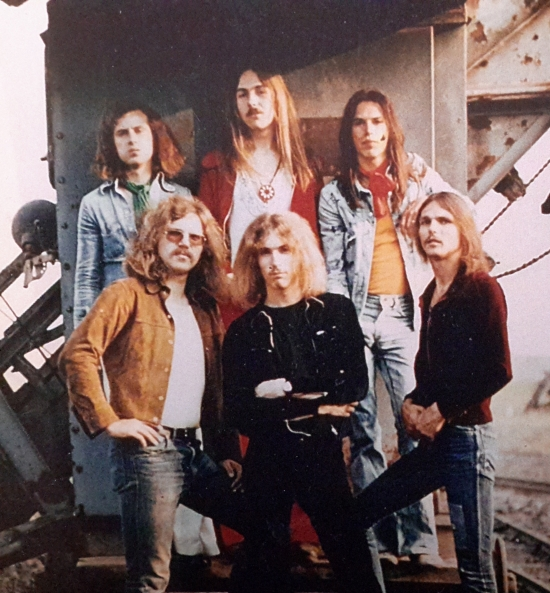 Photo session near Hannover, Summer  1973, featuring the combined Dawn Road/Scorpions line-up with keyboard player Achim Kirschning.