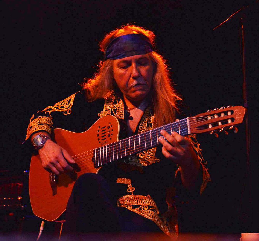 Uli improvising on his Godin 7- String Classical Guitar  Robin 2, Bilston, England - 1. June 2015