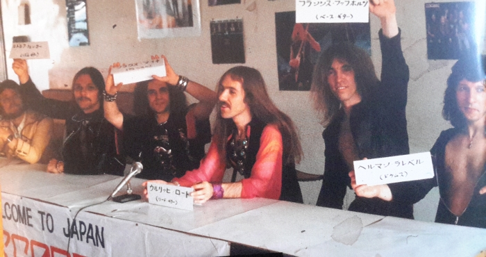 General press conference in Tokyo, shortly after the band's arrival in Japan, April 1978