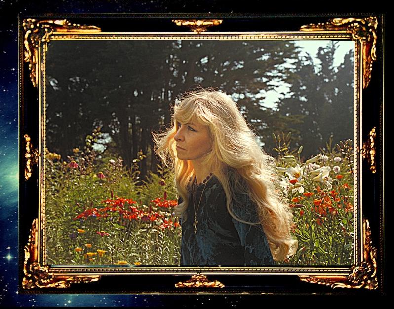 Picture of Monika in her garden, taken by Uli