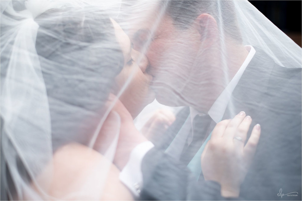 Photo of bride and groom kissing under veil
