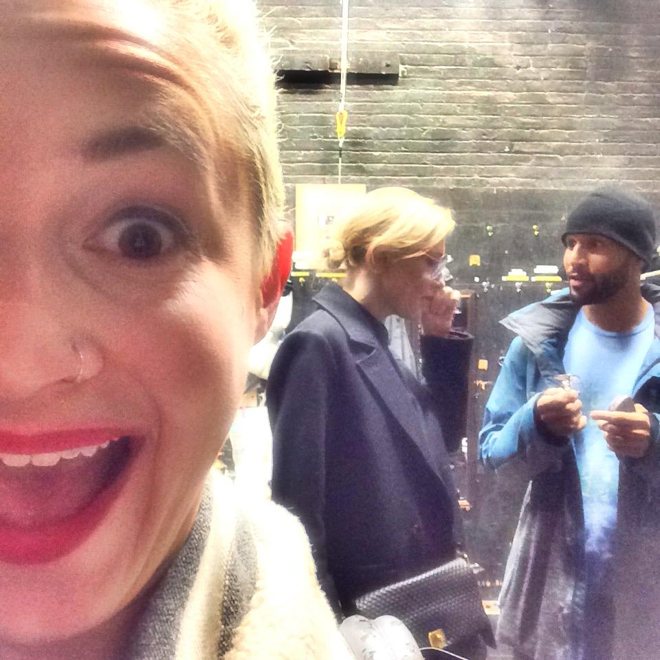 Cate Blanchett backstage at Hamilton Broadway speaking to original company member Sydney Harcourt.