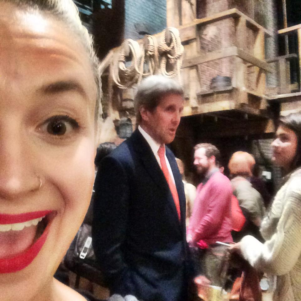 Former Secretary of State Jon Kerry talks to cast member Phillipa Soo