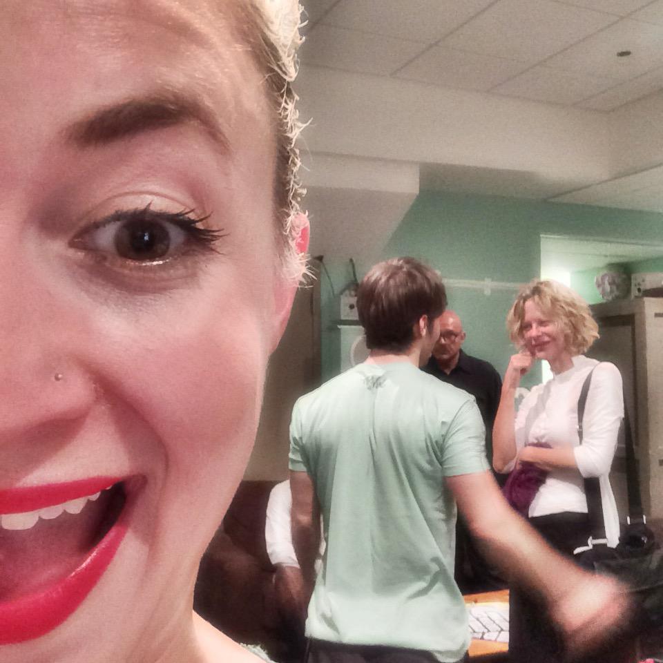 Meg Ryan chats with cast member Thayne Jasperson