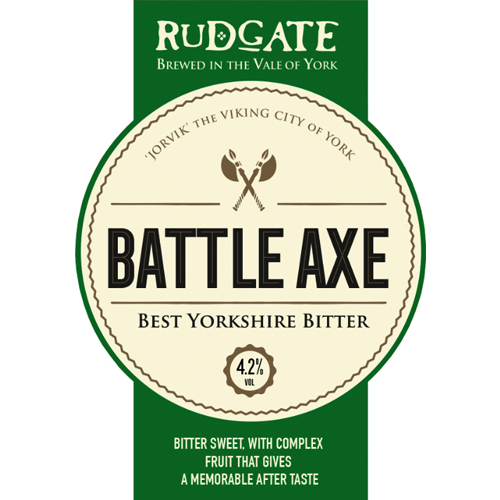 Battle Axe - 4.2%Bitter sweet, with complex fruit that gives a memorable after taste.Click here for more info on Rudgate Brewery