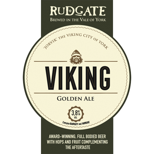 Viking - 3.8%Award winning full bodied beer with hops and fruit complementing the aftertaste.Click here for more info on Rudgate Brewery