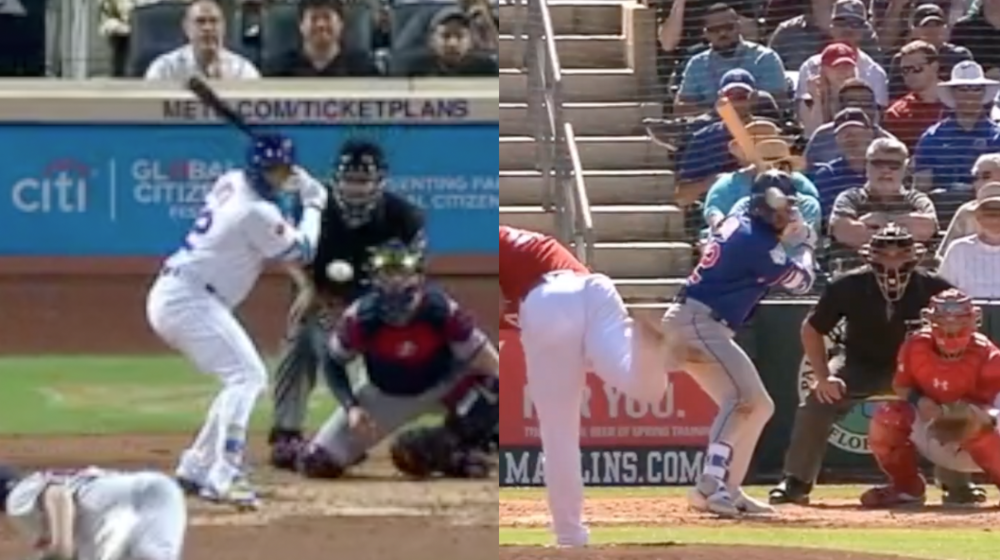 (Picture) Angle of Dominic Smith's bat at front-foot strike, September 2018 compared to March 2019. Credit: MLB