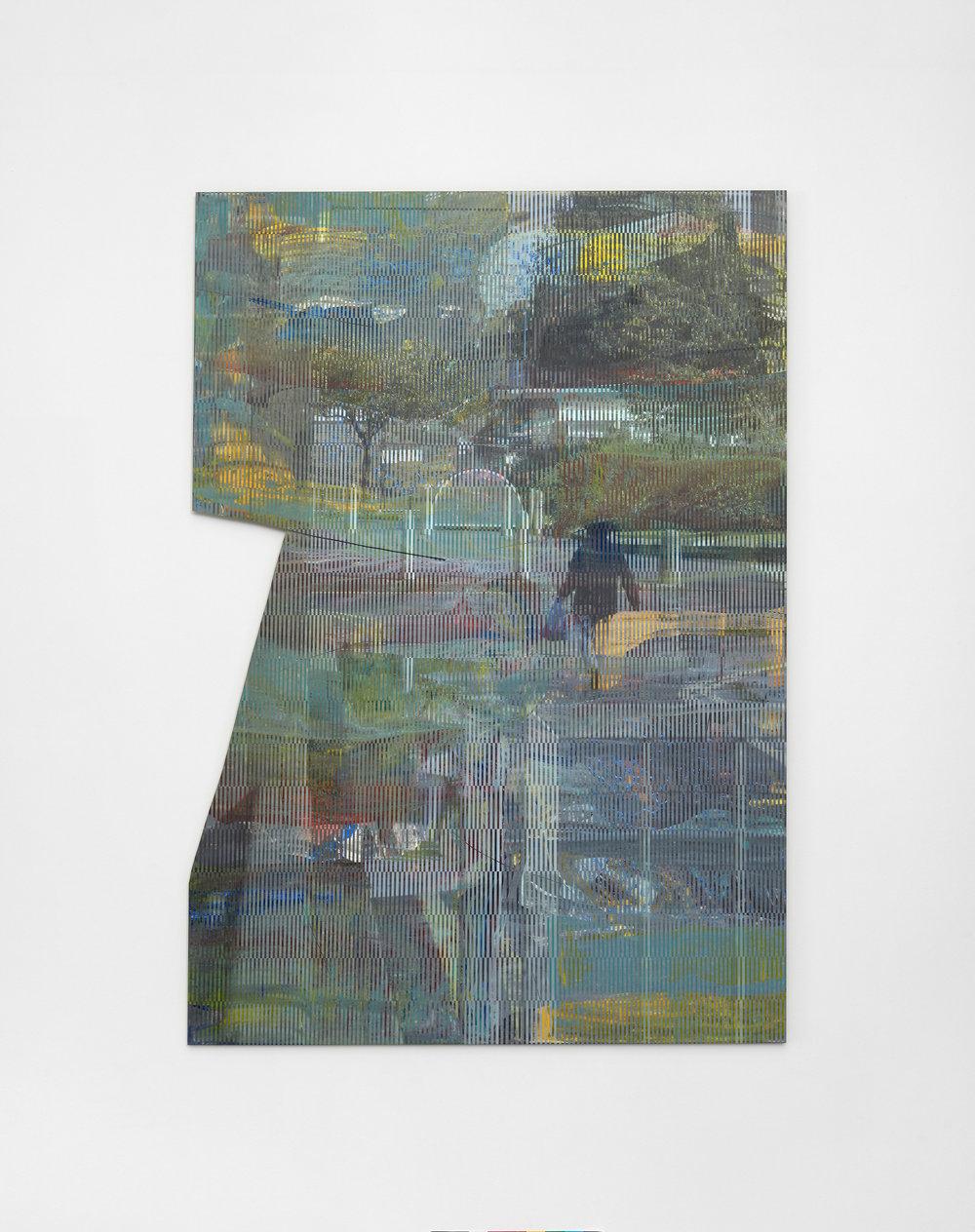 Daniel Lipp  Dog days, 2017  Acrylic and UV cured ink on aluminium  100 x 70 cm