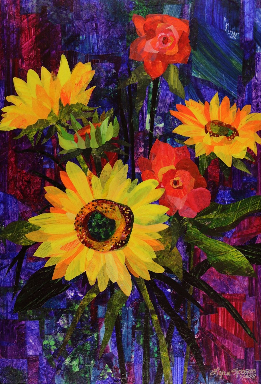 Sunflower Bouquet- Original SOLD, Giclee' prints available