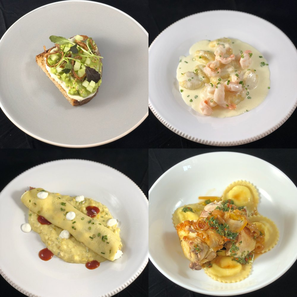 Avocado Toast, Butter Poached Shrimp & Potato Gnocchi, BBQ Duck Crepe & Creamed Corn, Ricotta Ravioli & Roasted Chicken