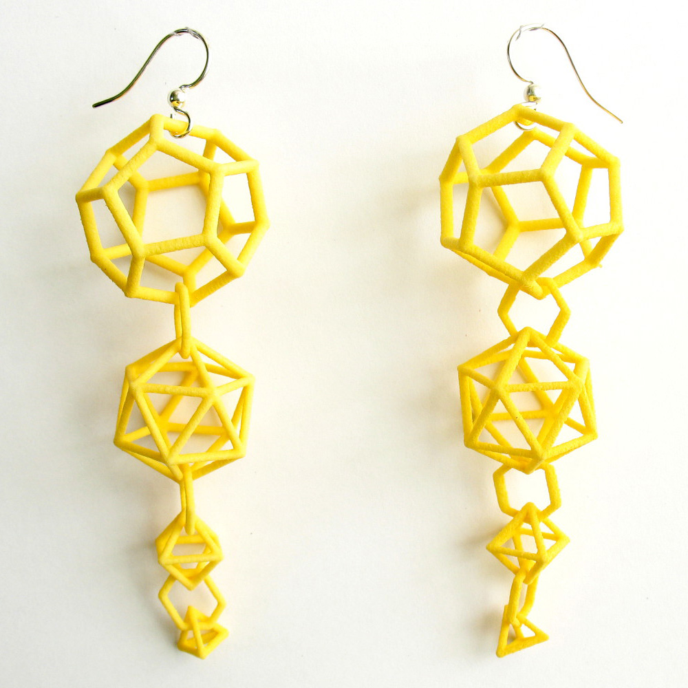 Earrings made by 3D printing technology