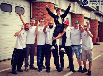 The team celebrating Lukes first win at Brands Hatch