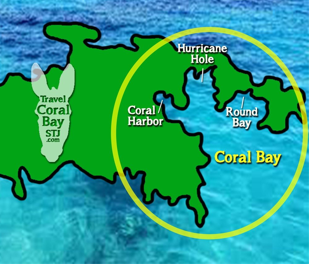 Coral Harbor in Coral Bay as seen driving down Centerline Road