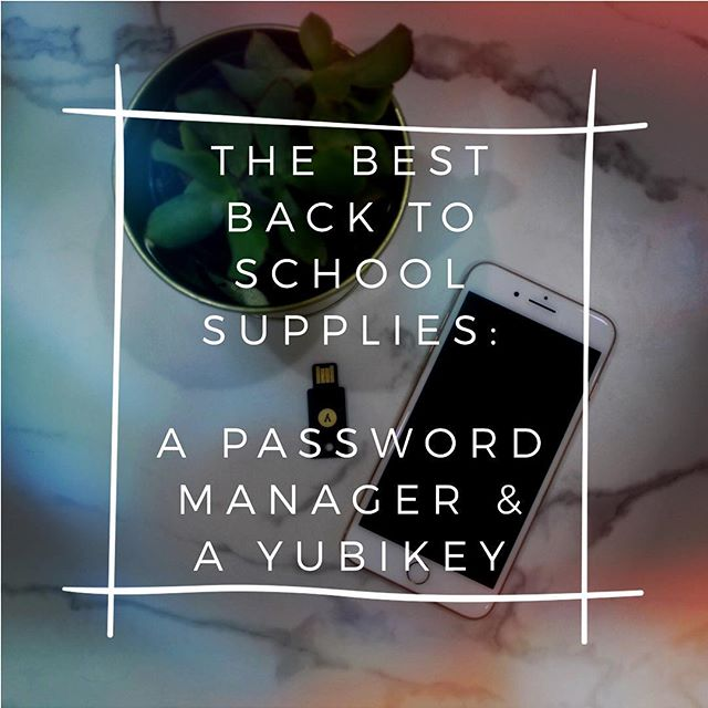 It's back to school time! Don't forget to get your kid a password manager and a yubikey to secure their school accounts and email! #backtoschool #backtoschoolshopping #onlinesecurity #onlinesafety #password #teachersofinstagram #teachersfollowteachers