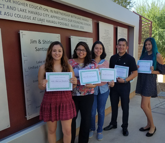 2016 - The London Bridge Lions Foundation awarded $1,000 scholarships from profits from the 2016 London Bridge Renaissance Faire to six deserving students attending the local ASU-Havasu campus. The students were presented with their scholarship certificates during a ceremony held on campus on October 15th.