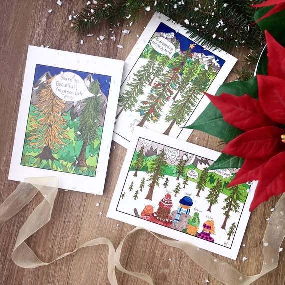 Christmas Card set of 3 Trees could talk.jpg
