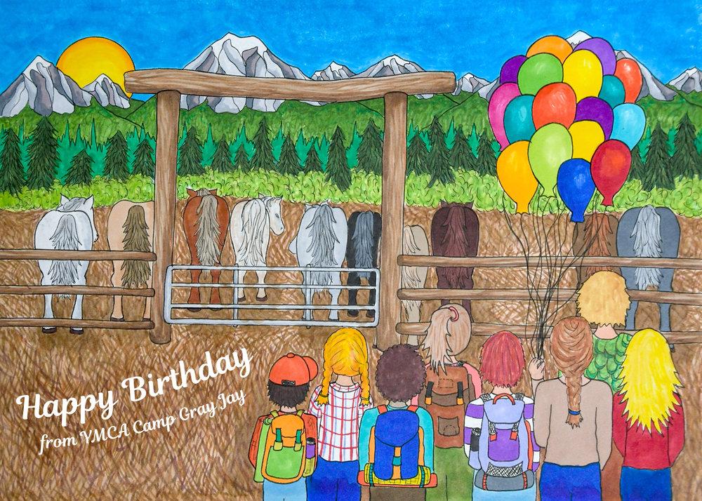 2018 birthday card for YMCA Camp Gray Jay
