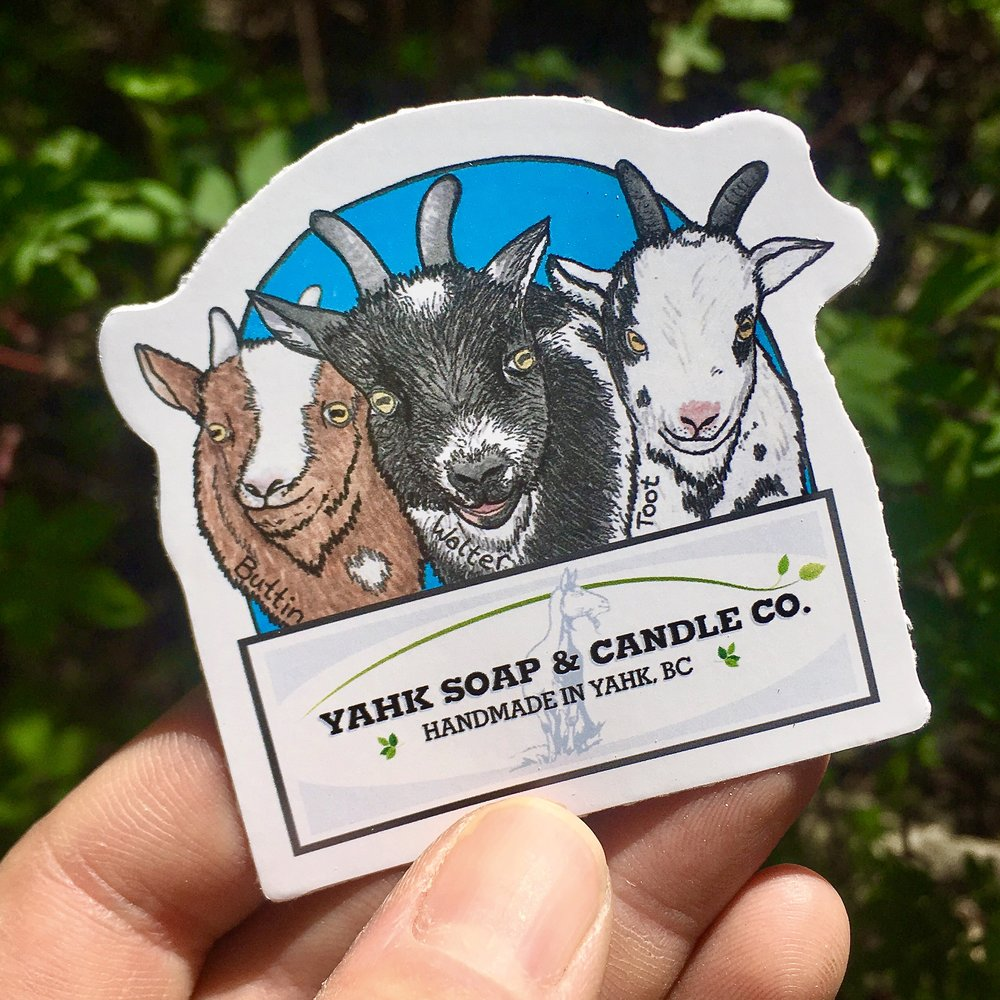 Buttin, Walter and Toot featured on the Yahk Soap & Candle Co. sticker