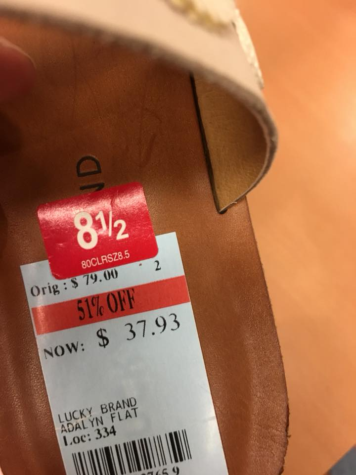Look For Those DEALS! - These lucky brand sandals are a full 51% off! Plus, they work with my theme. SCORE.