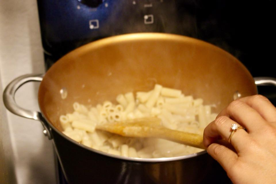 Drain your noodles and then put back in pot.