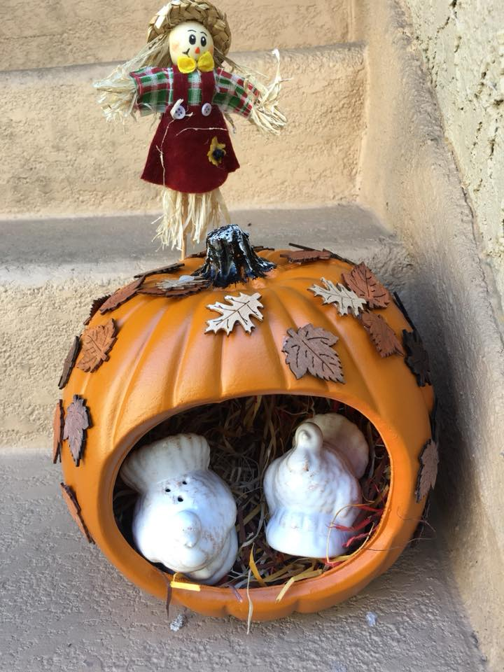 This Pumpkin Is Themed For October AND November. - Since I don't have to worry about a rotting pumpkin, I can decorate it to last me not only Halloween, but Thanksgiving too! For the scene inside the pumpkin, I continued the woodland theme by adding turkey salt and pepper shakers. It works for indoor AND outdoor decor. I plan to put this whole pumpkin at the center table for Thanksgiving! Pass the salt indeed!