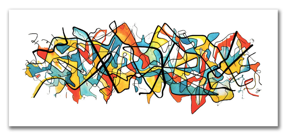 SOMETIMES ITS GRAPHIC  Watercolor + Ink 24″ x 46″