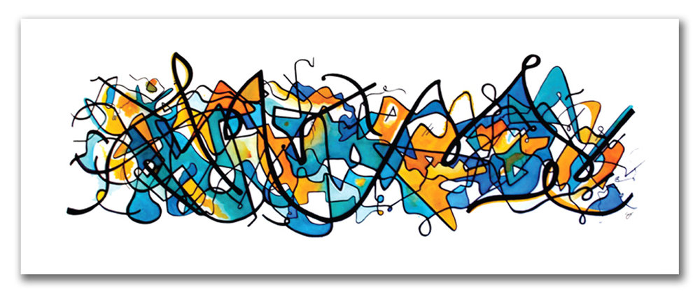 SOMETIMES IT COMES IN WAVES  Watercolor + Ink 24″ x 60""