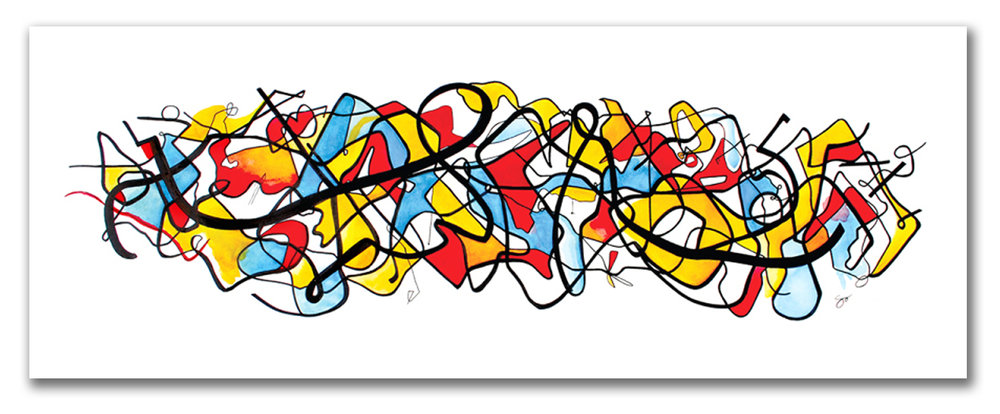 """SOMETIMES ITS IN FLUX  Watercolor + Ink 22″ x 54"""""""