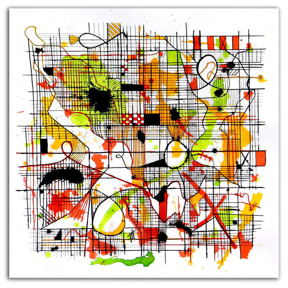 CURIOSITY OVER FEAR  Ink + Radiant Watercolor 29″ x 29″