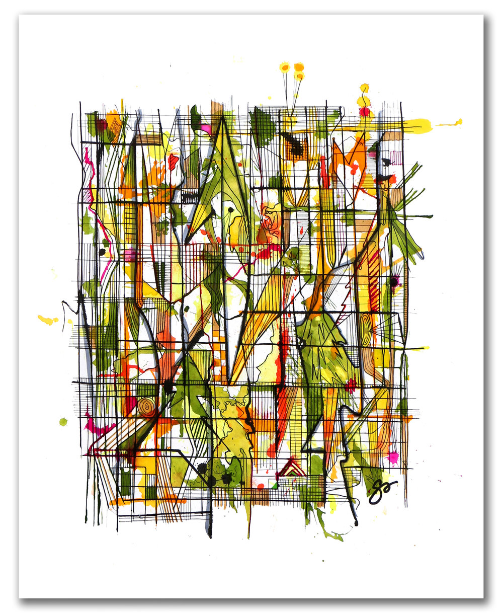 REFRACTED LIGHT FOREST PARK  Ink + Radiant Watercolor 28″ X 22″